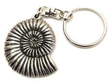 Ammonite Fossil KeyRing Hand Crafted Pewter Key Ring in pouch Gift