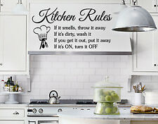 KITCHEN RULES Quote Vinyl Wall lettering Decal wall quote sticker funny