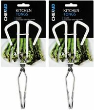 2x Chef Aid Chrome Kitchen Cooking Food Tongs - Ideal for Grills BBQ Salads