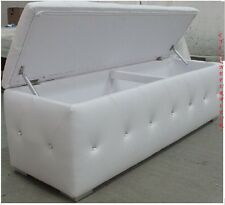 White PU Leather rectangular Ottoman (Large)-Footstool-Brand New with crystals