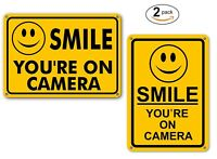 (2) Smile You're on Camera Yellow Warning Signs Home Yard Security cctv Sign