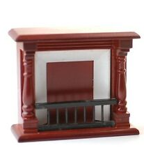 Mahogany Wooden Fireplace Dolls House Fire. 1.12 Scale Miniature.