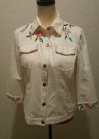White Denim Jacket Med/Large SIGRID OLSEN Embroidered with Flowers