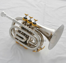High Grade Silver Nickel Plated Pocket Trumpet Large bell Bb Horn With Case