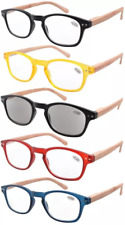 Reading Glasses 5pcs Color Frame - Bamboo Pattern Temples Includes Sun Readers