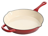 Artisan 12 In Enameled Cast Iron Round Skillet Scarlet Red Oven safe 8.85 pounds