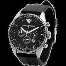 NEW IN BOX Emporio Armani AR0527 Mans Watch Black Dial Rubber Band w/Box