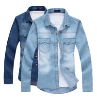 KAT6200  top Fashion New Mens Casual Luxury Stylish Slim Fit Denim Shirts