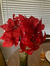 "HL  Poinsettia Artificial Flower Bunch Christmas Wedding Home Party Decor 20"" T"