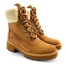 "Timberland Women's Courmayeur Valley 6"" WP Shearling Brown Nubuck Boots Size 8"