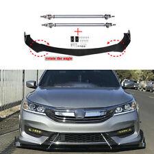 For Honda Accord Civic Front Bumper Lip Splitter Spoiler Glossy Kit + Strut Rods