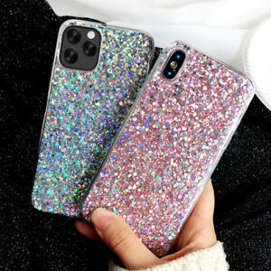 For iPhone 11 Pro Max Xs 7 8 Plus Bling Sparkle Santa Christmas Gift Soft Case