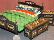 Dollhouse Miniature Bedroom Russian Folk Art Bed A 1:12 scale K12 Dollys Gallery