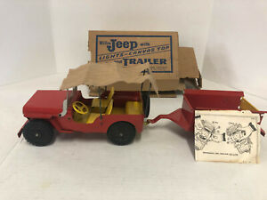 Marx Willys Jeep with Lights and Trailer, Vintage 1950's, With Box
