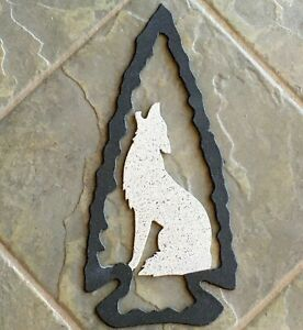 """Metal Wall Art, Arrow Head Howling Coyote 5.5""""w x 12""""h Indoor/Outdoor Stone Blk"""