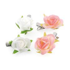 New in! 4 Piece Rosebud Flower Hair Beak Clip's Pink & White 2.5cm HA31760