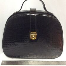 Lock and Key Train Case Make-Up Cosmetic Bag Unique Black Reptile Embossed H30