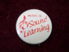 """Music Is Sound Learning Treble Clef 1"""" Metal Souvenir Pinback Pin Badge Button"""
