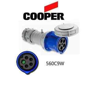 IEC 309 560C9W Connector, 60A, 120/208V 3-Phase  4P/5W, Blue - Cooper # AH560C9W