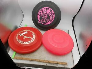 LOT OF 3 Vintage WHAM-O Frisbee FLYING DISC Red & BLACK WHIRLEY SLIP DISC