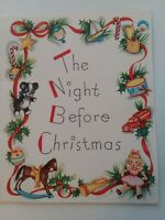 Vtg 1940-50s The Night Before CHRISTMAS Story Clement Clarke Moore GREETING CARD
