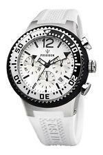 POSEIDON Herren-Armbanduhr L Chronograph Silikon UP00458 Weiß UVP 199,- €