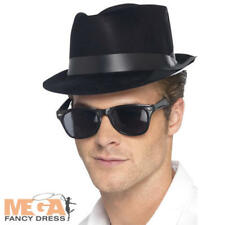 Flocked Fedora Hat Adults Fancy Dress 50s Rock n Roll Mens Costume Accessory New