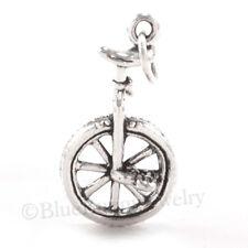 3D UNICYCLE Bike one-wheel vehicle 925 Sterling Silver Pendant Bracelet Charm