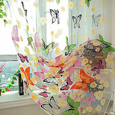 Butterfly Print Sheer Curtain Panel Window Balcony Tulle Room Divider