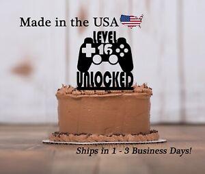 Level 16 Unlocked Cake Topper, Game Controller, Boys Birthday Party, LT1464