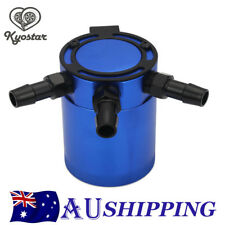 Blue Aluminium Racing Baffled 3-port Oil Catch Can Tank Air-oil Separation New