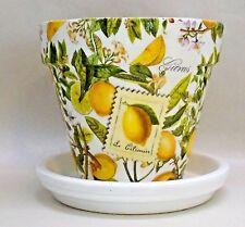 "Made To Order, Handmade Decoupage Clay Flower Pot, Lemons, Citrus 6"""