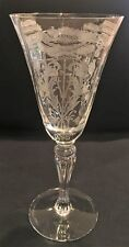 Crystal Tiffin Flanders Water Goblet Clear Etched Poppy Design  (Stem 15071)