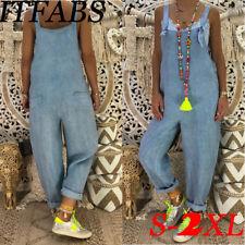 Plus Size Women Bodycon Jumpsuit Jeans Denim Romper Overalls Trousers Long Pants