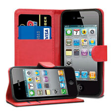 For Apple iPhone 4 4S Case - Leather Wallet Flip Case Cover + Screen Protector