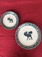 Plates Ivory and Green Folk Craft Moose Country by Tienshan