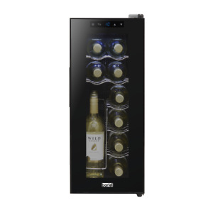 Baridi 12 Bottle Wine Cooler, Fridge, Touch Screen, LED, Low Energy A, Black