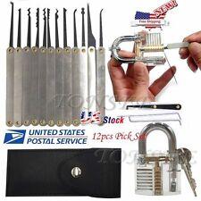 US 12pcsTransparent Practice Padlocks Unlocking Lock Pick Set Key Extractor Tool