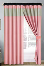 4-Pc Chic Solid Striped Curtain Set Pink Black Silver Gray Sheer Liner Drape Rod