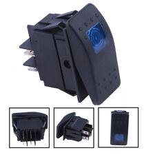 4-Pin 12V 20A Car Boat Rocker Bar Toggle Button Switch Kit LED Blue Light Black