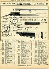 1963 Print Ad of Savage Model 720 & 745 Springfield 745B Auto Shotgun Parts List