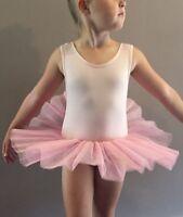 NEW Ballet Dance Dress with Skirt/Tutu Kids Leotard Pink Girl 3/4/5/6/7 UK