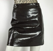 Castro gonna stampa pitone mini 44 eco pelle skirt studs usato marrone vintage