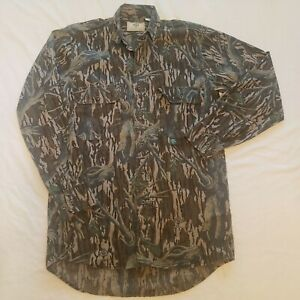 Vintage Mossy Oak Shirt Jacket Mens Small Long Sleeve Tree Stand Camouflage USA