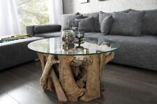 Table basse Wood salon avec plateau en verre bois racine d'arbre de