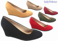 NEW Women's 6 color Round Toe Low Wedge Pump Sandal Shoes Size 5 - 10