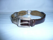 Fossil Brown Genuine Leather Silver Western Concho Belt Womens Size S