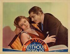 PENTHOUSE (1933) Lobby card ft. Myrna Loy, Warner Baxter in ART DECO opulence