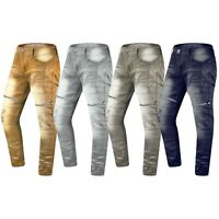 NEW Men Denim Biker Premium Ripped Zipper Jeans Slim Fit Stretchy Fabric 32-44