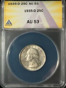 1935-D Washington Quarter == ANACS  AU-53 == Strong Luster == FREE SHIPPING !